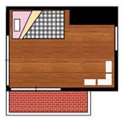 女子部屋のシングルベッド配置例