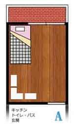 収納ベッドシングルのワンルーム配置例