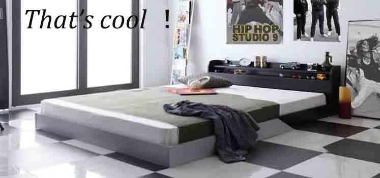 低価格ローベッド2段棚ベッド