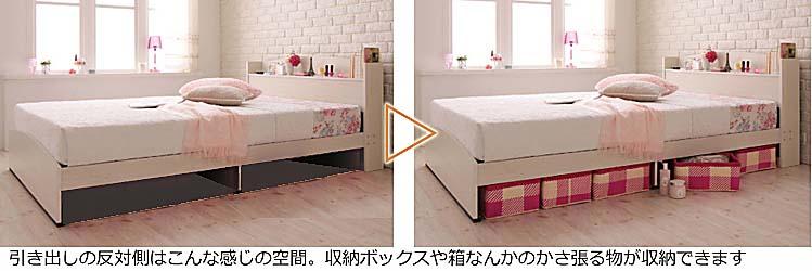 ショートサイズセミシングル収納ベッド