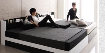 シングル2台連結収納ベッド