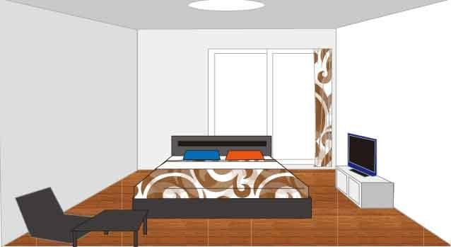 クイーンベッド6畳配置、縦型レイアウト